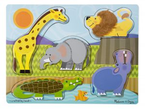 Wooden Touch & Feel Puzzle Zoo Animals