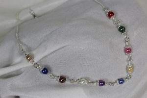 Coloured Bead Stair Necklace (short)