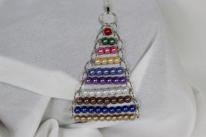 Coloured Bead Stair Necklace (triangular)