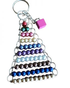 Coloured Bead Stair Keychain with Pink Tower Charm