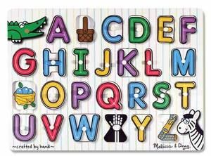 Wooden Peg Puzzle Alphabet-English